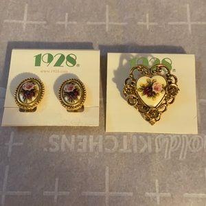 Women's brooch and earrings